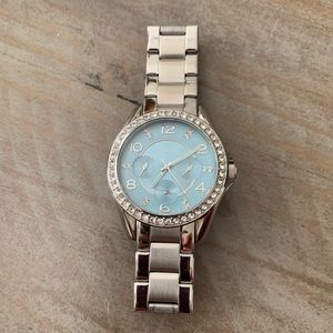 Fossil watch silver with blue face crystal bezels